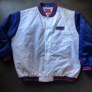 Men's Vintage Reebok New York NY Giants White Blue Satin Bomber Jacket Sz 3XL