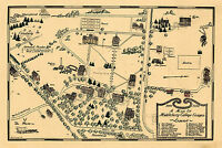 1800-1932 Middlebury College Campus Map Wall Art Poster Decor History Vintage