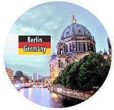 BERLIN, GERMANY - FLAG / SIGHTS - ROUND SOUVENIR FRIDGE MAGNET - GIFTS - NEW
