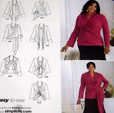 Simplicity 2598 Knit Top Cardi Wrap Khaliah Ali Sz 26W 28W 30W 32W Cardigan