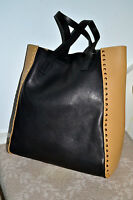 NWT $1600 MARNI Italy Studded Calf Leather Tote Bag Shopper Handbag Black Tan