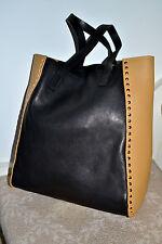 NWT $1600 MARNI Italy Studded Calf Leather Tote Bag Shopper Handbag Black Tan