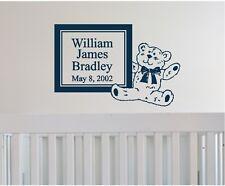 Teddy Bear & Personalized Name & date Wall Sticker Wall Art Decor Nursery Decor