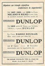W7660 Pneumatici DUNLOP vince Milano-San Remo - Pubblicità del 1909 - Old ad