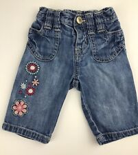 Old Navy Infant Baby Girl 0-3 M Jeans Pants Denim 100% Cotton Embroidered Floral