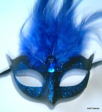 BURLESQUE MASQUERADE VIVID COLORED FEATHER PARTY HEN EYE MASKS IN 6 COLORS NEW