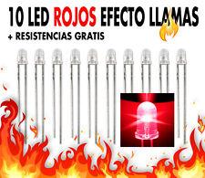 10 x Leds rojos  Ø 3 mm EFECTO LLAMAS + resistencias gratis. NUEVOS !!