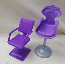 Lot of 2 Barbie Doll Hair Salon Hair Dresser Purple Chairs