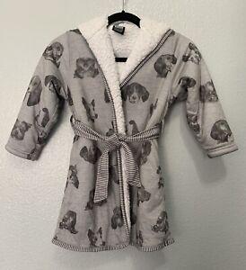 Woodrow&Friends Kids Size XS (5/6) Unisex Hooded Dog Puppy Print Cozy Robe Gray