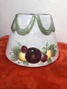 "Yankee Candle Jar 7"" Large Ceramic Shade Topper Draped Sugar Plum and fruit G2"