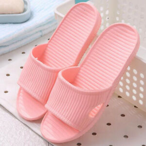 Floor Skid Proof Home Slippers Indoor Stripe Pattern Women Flat Bath Sandal