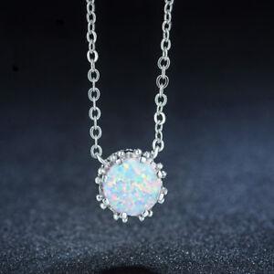 Simple Design European Rainbow Fire Opal Gemstone Silver Necklace Pendants