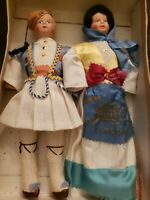 Lot of 2 Vintage Collectible Greek Dolls