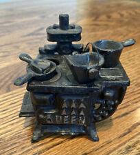 Antique Cast Iron Mini Queen Stove Set With Accessories Salesman Sample