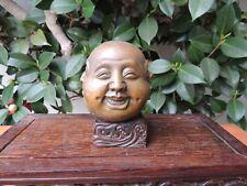 "3"" marked Old Chinese pure Bronze 4 mood Emotions Maitreya Buddha head statue"