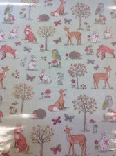 Woodland Animals Pvc Coated 100% Cotton Fabric In Duck Egg By The Half Metre