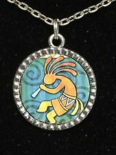 "African Kokopelli Flute Player on Swirls Charm Tibetan Silver 18"" Necklace"