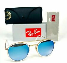 Ray-Ban Round Double Bridge RB3647 Sunglasses 001/40 Gold Frame Blue Lenses