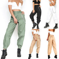 Women Cargo Trousers Sports Casual Hip Hop Pants Military Army Combat With Chain