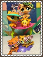 Littlest Pet Shop LOT 4 Tabby Bengal Tiger Cat #1834 #1608 #905 #1267 Tigger