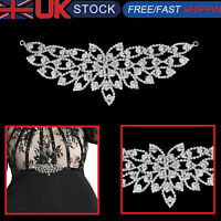 Rhinestone Diamante Silver Bridal Wedding Sew On Motif Crystal Applique Patch