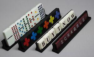 Set of 4 Black - Qwirkle Domino Scrabble Upwords, Tile Tray Holder