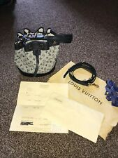 LOUIS VUITTON NANO NOE MINI LIN NAVY BLUE BUCKET DRAWSTRING BAG CROSSBODY RARE