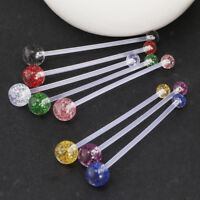 8Pcs Flexible Pregnancy Maternity Bioflex Acrylic Glitter Ball Belly Bar 14g
