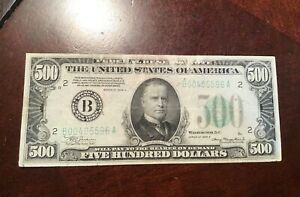 1934 $500 FEDERAL RESERVE NOTE AFFORDABLE FINE WITH PAPER PULLS