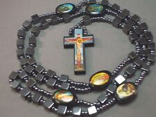 Rosary Necklace BLACK Cube HEMATITE Beads Holy Images BEAUTIFUL PICTURE CRUCIFIX