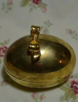 Solid Brass Egg Shaped Oval Trinket Box Lined Red Velvet with Bow on Top Gatco
