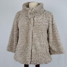 Womens Faux Fur Evening Wear Jacket Coat Beige Textured Snap Closure Size Small