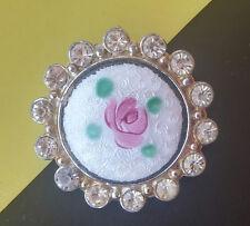 Vintage Rhinestone Guilloche Enamel Pink Rose Flower Brooch Scatter Pin