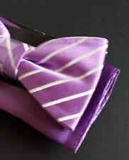 Countess Mara Ready To Wear Silk Bow Tie with Handkerchief Purple Stripes Fashio