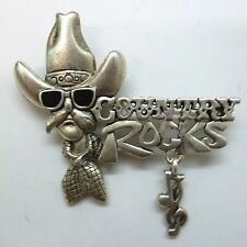 Rocks Script, Ant Silver Plate, New Country Western Signed Brooch Pin, Country