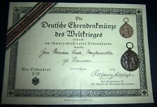 GERMAN - WW1 Vets. Honour Legion Medal & Original Award Cert.