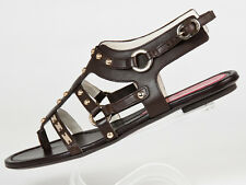 New Cesare Paciotti Brown Studded Leather Sandals Size 37 US 7
