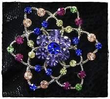 Neu BROSCHE Blume SWAROVSKI STEINE Fuchsia/Peridot/Saphir/Pink/Grün/Blau/Lila ua
