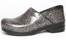 Dansko Womens Professional Grey Tooled Patent Leather Clog Sz 42 EUR 1003