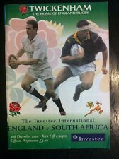 England v South Africa 2000 Rugby Programme and Ticket