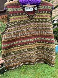 Orvis Fair Isle Tank Top Size L vgc  Lovely Autumnal Colours