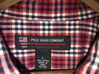 Ralph Lauren Polo Jeans Co. Men's Red Plaid Long Sleeve Shirt Sz L