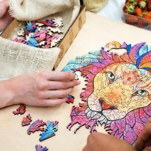 Lion Wooden Jigsaw Puzzle Interactive Cartoon Adult Children Toy Gift
