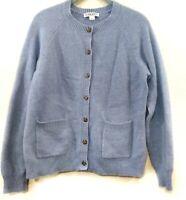 Pendleton Cardigan Womens Medium Blue Lambs Wool Blend Button Up Pockets Sweater