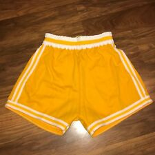 New Vtg 70s Sb Athletic Yellow Striped Basketball Medium Track jersey gym shorts