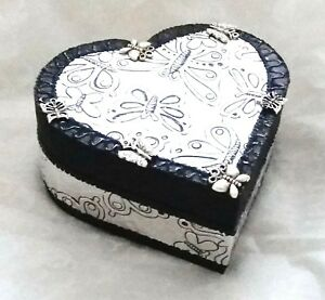 Heart shaped trinket box, hand made with silver embossed butterfly design-NEW