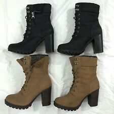 Lot of 2 Call It Spring Black & Tan Lace Up High Heel Suede Boots Womens Size 9