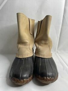 Vintage LL BEAN Mens Maine Hunting Shoe Slip On Duck Boots Brown Sz 9M (OA)
