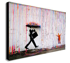 BANKSY Style Coloured Rain - CANVAS WALL ART Picture Framed Print Various Sizes