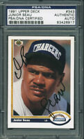 Chargers Junior Seau Authentic Signed Card 1991 Upper Deck #343 PSA/DNA Slabbed